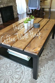We bought the LACK Ikea coffee table and put in together. I bought some wood from Home Depot and had it cut into 5 pieces of wood 46.5 inches long, and 5.5 inches wide.