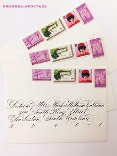 Vintage Postage Stamps - Vintage Wedding Stamps - Vintage Wedding Postage - Magnolia Postage