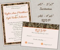 Hunting Camo Wedding Invitations A7 and RSVP Cards A6 - DIY Printable. $35.00, via Etsy.