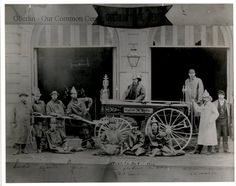 ID#0143 Date: Unknown. This image shows the 'George Pay Hose Company No. 1' in front of the fire wagon paid for by councilman and business owner George S. Pay. They are posed in front of Town Hall. Built in 1870, this was Oberlin's first Town Hall. It was sold to Oberlin College in 1916 and demolished in 1919. Participant: Charles Bailey. Additional Sources: Oberlin Heritage Center: City Directories. The Rotary Club of Oberlin, Pictorial Memories of Oberlin, 1976 and 1989.