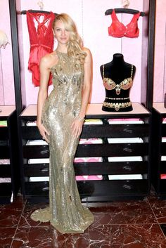 Candice Swanepoel wearing Zuhair Murad gold dress at the VS Fantasy Bra Event 2013