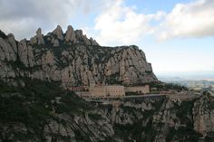 Montserrat Monastery in Catalonia, Spain - situated on top of an unusual rock mountain -elevation: 4,055 ft.