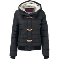 Superdry Sports toggle puffer jacket (150 CAD) ❤ liked on Polyvore featuring outerwear, jackets, black, women, puffy jacket, black sports jacket, black sport jacket, zipper jacket and black jacket