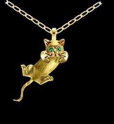 Gold cat jewelry by a lover of cats with artistic talent Jewelry