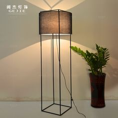 Nordic IKEA simple American vintage wrought iron floor lamp stand four square living room floor lamp bedroom lamp study _ {categoryName} - AliExpress Mobile Study Lamps, House Lamp, Floor Standing Lamps, Tall Lamps, Modern Floor Lamps, Wood Lamps, Bedroom Lamps, Lamp Design, Decoration