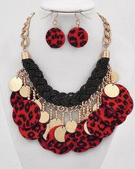 Red Rager Gold and Red Leopard Print Statement Necklace-$24-Find hot fashion jewellery and statement jewlry at Strike Envy. #jewellery #jewlry