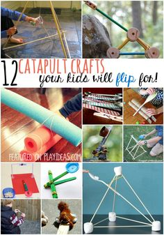 Great fair project - These 12 catapult crafts are so fun your kids won't even realize they're learning physics when they make them! Preschool Science, Craft Activities For Kids, Science For Kids, Science Activities, Projects For Kids, Games For Kids, Art For Kids, Crafts For Kids, Stem Projects