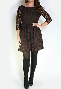 3/4 Sleeve Lace Dress w/Back Zipper >> Would be cute with a little belt too!