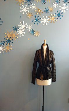 Black/Tan Stripe Cardigan with Waist Belt by Freeway $72.00