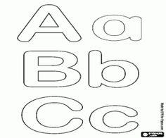 Bubble alphabet, letters A, B, C coloring page