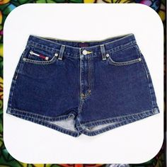 """TOMMY HILFIGER Dark Wash Denim Booty Shorts Sz 9 Cute jean shorts from Tommy Hilfiger in a dark wash with yellow stitching. 5-pocket styling and short in length. Size 9 for a 29"""" waist. Measures 11.5"""" in length. Perfect for summer! Tommy Hilfiger Shorts Jean Shorts"""