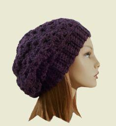 Slouchy Hat Beanie Purple Slouch Women Teen Eggplant Plum Knit Dark Purple Beany Crochet Hat