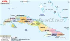 Political map of Cuba illustrates the surrounding countries with international borders, 15 provinces boundaries with their capitals and the national capital. Cienfuegos, San Salvador, Nassau, Villa Clara, Great Exuma, Greater Antilles, Learn Another Language, Metro Map, Spiritus