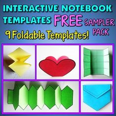 nteractive Notebook Templates - Free Sampler Pack - 9 Templates for Commercial and Personal Use