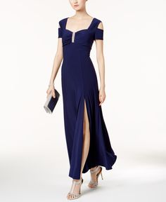 R & M Richards Cold-Shoulder Gown - Twilight Cold Shoulder Gown, Gowns Online, Review Dresses, Mother Of The Bride, Dress Outfits, Formal Dresses, Bride Dresses, Cape Gown, Gown Dress