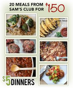 Sams Club Meal Plan 20 Meals from Sams Club for 150 Recipes Printable Shopping Lists Paleo Recipes, Crockpot Recipes, Dinner Recipes, Cooking Recipes, Paleo Meals, Budget Recipes, Paleo Food, Paleo Diet, Yummy Food