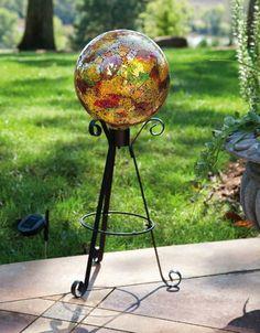 Evergreen Garden Gold Metallic Mosaic Glass Gazing Ball - x x Evergreen Garden, Evergreen Flags, Lawn Ornaments, Garden Accessories, Glass Ball, Green Building, Cherub, Lawn And Garden, Mosaic Glass
