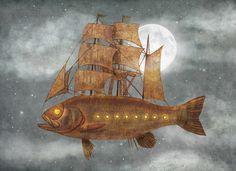 by Terry Fan Fantasy Illustration, Illustration Sketches, Terry Fan, Sky Sea, Fish Print, Whimsical Art, Surreal Art, New Art, Fantasy Art