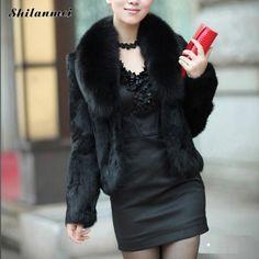 2016 Brand Winter Coat Women Outerwear sexy Jackets Casacos Fake Fur Plus Size Vintage Artificial Solid Black Faux Fox Femininos //Price: $46.00 & FREE Shipping //     #lovemegashop #shoppingtime