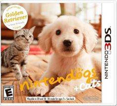 - Nintendogs + Cats: Golden Retriever nintendogs puppies are back in the palm of your hand on the Nintendo system, with even cuter and more expressive puppies and, for the first time, kittens! Golden Retriever, Labrador Retriever, Jeux Nintendo 3ds, Nintendo Games, Buy Nintendo, Playstation Games, 3d Mode, Puppy Play, Cat Feeding