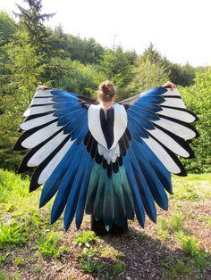 European Magpie Bluejay Custom Bird Wings Cloak Hand Painted by islesofday on Etsy https://www.etsy.com/ca/listing/239795162/european-magpie-bluejay-custom-bird