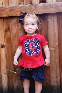 Blue Trellis Pattern Ruffle Tee | Gentry's Closet | $27 | Click link to shop: http://gentryscloset.com/collections/4th-of-july/products/4th-of-july-ruffle-shirt-for-little-girl-patriotic-american-red-shirt
