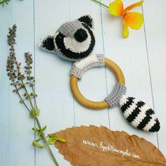 Hochet en bois Raton Laveur 100% coton crochet fait main-Anneau de dentition en bois