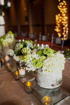White and Green Reception Arrangements in Birch Containers Replace the green with yellow flowers. Reception Decorations, Flower Decorations, Wedding Centerpieces, Wedding Table, Rustic Wedding, Flower Centerpieces, Wedding Reception, Wedding Themes, Wedding Colors
