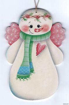 SNOWMAN Angel - Based on a Susan Kelley design... handpainted Pamela House