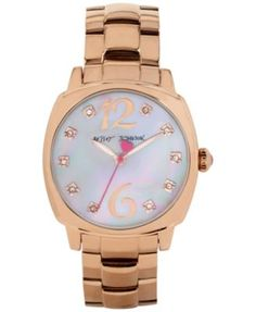 Betsey Johnson Women's Rose Gold-Tone Bracelet Watch 41mm BJ00427-03