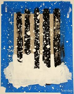 The Crafty Crow Stopping By Woods art step 3a add snow