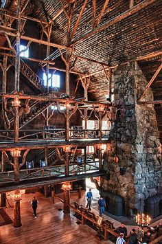 I stayed here, The Old Faithful Inn, 2 summers ago. It feels like you traveled back in time! At night, you can sit on one of the balconies and listen to people sing and play the piano! Great place to visit!