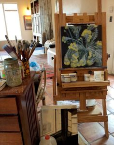Jill McElmurry's art studio in Albuquerque (Mr. Pig Visits, The Little Crooked Cottage)