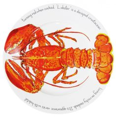 Richard Bramble Red Lobster 30cm Flat Rimmed Plate