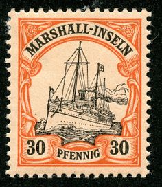 Marshall Islands – 1901 Scott 18 30pf orange & black/salmon