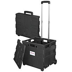Office Depot Brand Mobile Folding Cart With Lid 16 H X 18 W 15 D Black Item 987304