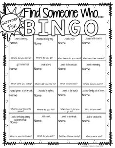 Back to School BINGO!! Students walk around and find out what activities they've done over the summer. Great ice breaker!!