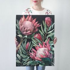 King Proteas on Dark Background — Ampersand Mother Watercolor Artwork, Watercolor And Ink, Watercolor Illustration, Watercolor Flowers, Peony Painting, Painting & Drawing, Protea Art, Protea Flower, Sunflower Drawing