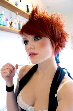 Short red hair.