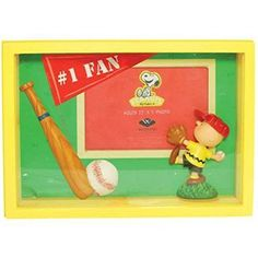 "WL SS-WL-20719 Peanuts' Charlie Brown Baseball #1 Fan Shadow Box Photo Frame, 3.5"" x 5"""