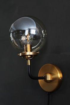 Brass & Glass Globe Wall Light from Rockett St George Modern Bathroom Light Fixtures, Industrial Light Fixtures, Indoor Wall Lights, Ceiling Lights, Bathroom Basin Taps, Loft Bathroom, Rocket St George, Unique Lighting, Lighting Ideas