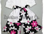 Custom Boutique Clothing Peasant Dress Top w/ Sash Ruffled Flower Floral Pant Outfit Set 3 6 9 12 18 24 month size 2T 2 3T 3 4T 4 5T 5 6 7 8