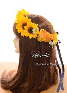 花冠「ひまわり+ビタミンカラーに白小花が可愛い❤」