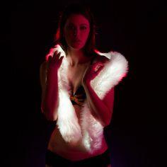 Color Changing Light Up Fur Boa. burning man edc festival rave party clothing fur