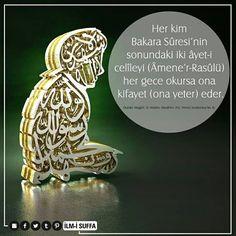 """✏ """"Her kim Bakara Sûresi'nin sonundaki iki âyet-i celîleyi (Âmene'r-Rasûlü) her gece okursa ona kifayet (ona yeter) eder.""""   [Buhârî, Megâzî, 12; Müslim, Müsâfirin, 255; Tirmizî, Sevâbül-Kur'ân, 4]  #hadis #amenarrasulu #ayet  #bakara #suresi #gece #oku #yeter #hayırlıkandiller #türkiye #istanbul #rize #eyüpsultan #ilmisuffa"""
