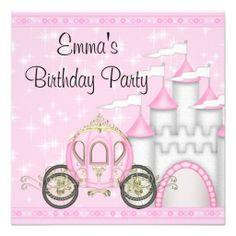 Princess Carriage Castle Girls Birthday Invitation