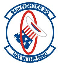 "94th Fighter Squadron emblem. As the first American squadron in operation, its aviators were allowed to create their squadron insignia. They used the opportunity to commemorate the United States' entry into World War I by taking the phrase of tossing one's ""hat in the ring"" (a boxing phrase to signify one's willingness to become a challenger) and symbolizing it with the literal image of Uncle Sam's red, white and blue top hat going through a ring."