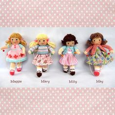 * * Written in ENGLISH * * LITTLE SKIPPING FRIENDS - 15cm (6in) dolls with their skipping ropes. Maggie, Mary, Milly and May are made from the same basic pattern but their pretty clothes and hair styles give them a very different appearance. Easy to follow knitting and sewing patterns that