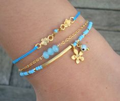 Evil Eye Beaded Gold Bar Bracelet   Blue Seed Bead by cocolocca, $6.75