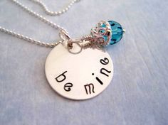 Hand Stamped Be Mine Necklace in Sterling Silver by by marybeadz, $30.00